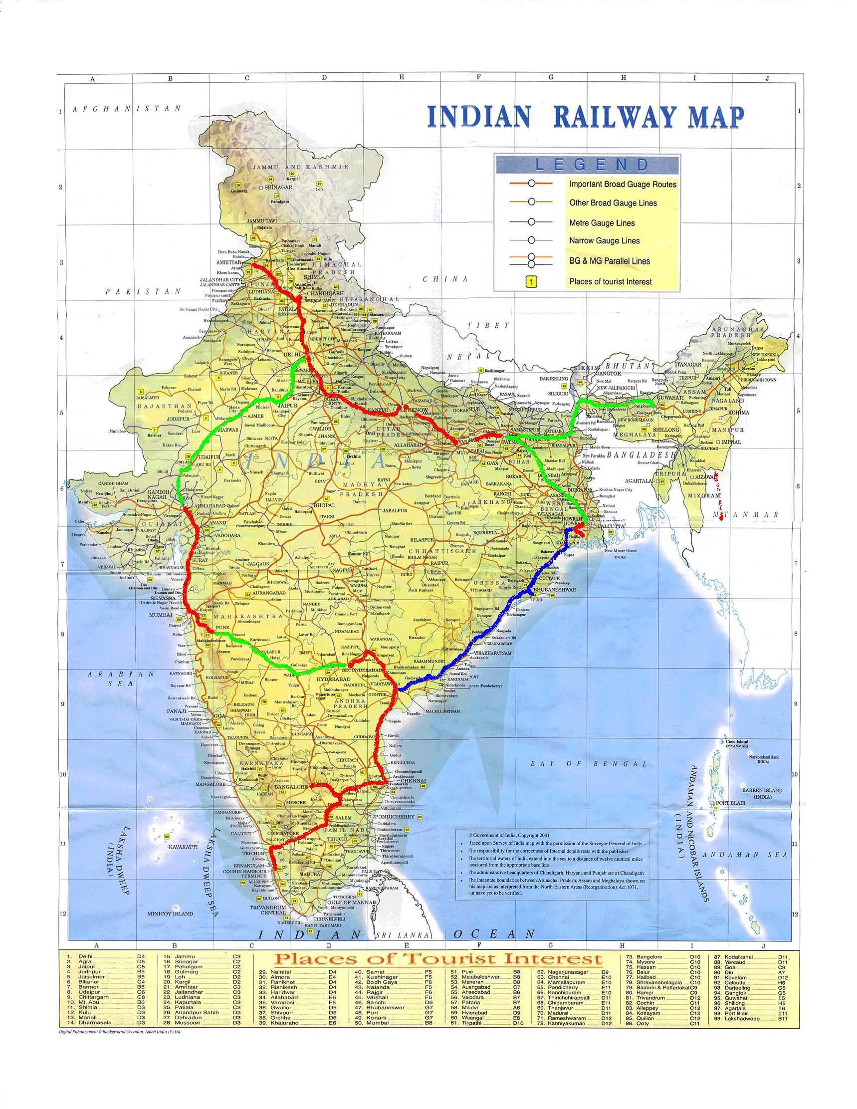 South India Train Map India Train Map